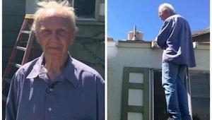 Este hombre tiene 75 años y está solito. Cuando tuvo que reparar el techo, podía