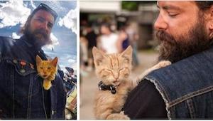Un motociclista salvó a un gatito quemado y le llevó a un viaje.