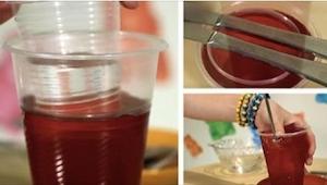 Echó un preparado de gelatina con agua caliente en un vaso y luego metió uno den